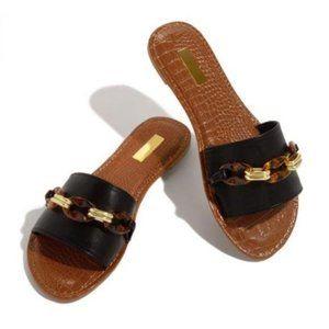 Shoes - Single Strap Slides in Black/Tortoise